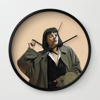 mia wallace Wall Clocks featuring Mia Wallace by Taylor Miller