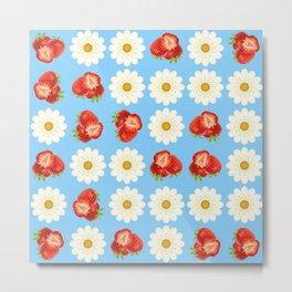 Strawberries and daisies Metal Print