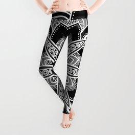 Mandala: Black Gray White Flower Leggings