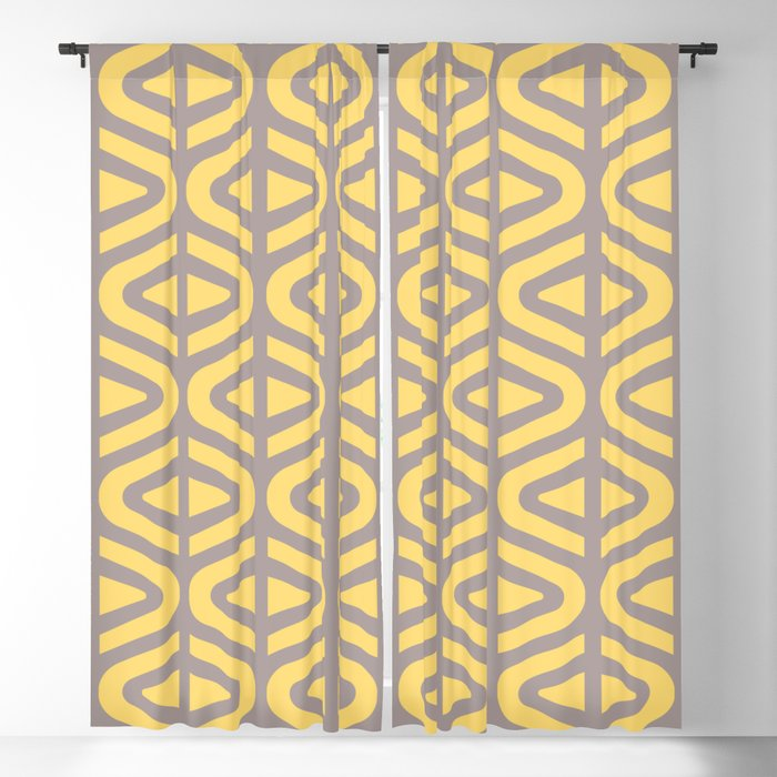 Mid Century Modern Split Triangle Pattern Gray and Yellow 2 Blackout Curtain