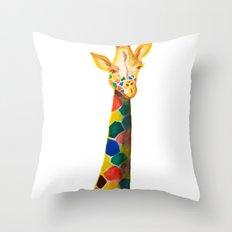 Giraffe Watercolor Print Throw Pillow