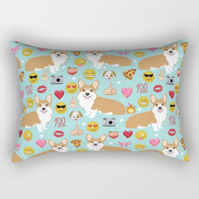 Corgi welsh corgi emoji pattern cute funny dog gifts emojis with corgis Rectangular Pillow