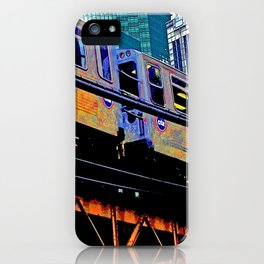 Chicago 'L' in multi color: Chicago photography - Chicago Elevated train iPhone Case
