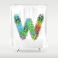letter Shower Curtains featuring Letter W by David Zydd