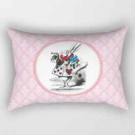 Alice in Wonderland | The Herald of the Court of Hearts | White Rabbit | Pink Damask Pattern | Rectangular Pillow