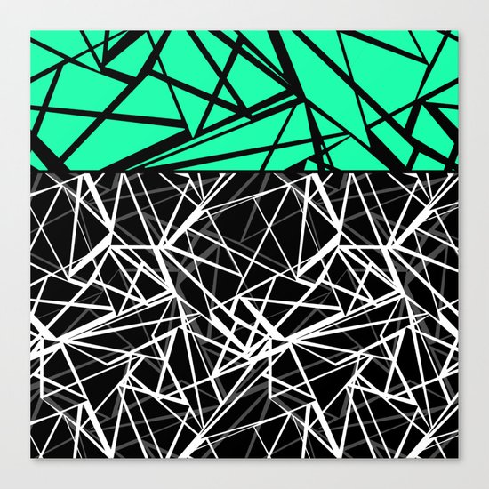 Black and white abstract geometric pattern with green insert . Canvas Print