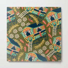 Gypsy Wagon Pattern Metal Print