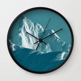 Alaskan Mts. I, Bathed in Teal Wall Clock
