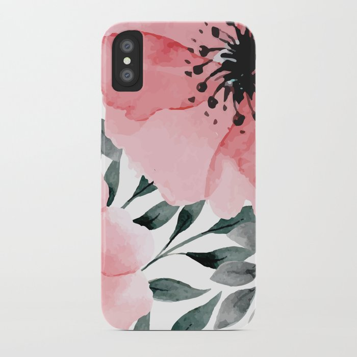 Big Watercolor Flowers iPhone Case
