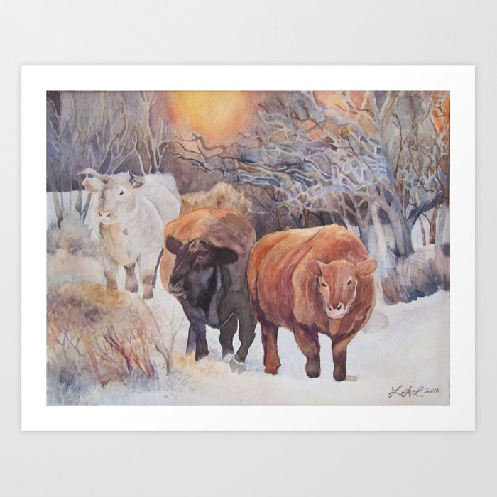 Three Cows Art Print