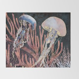 Metallic Coral Throw Blanket