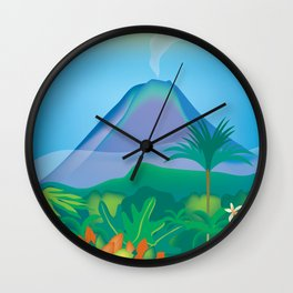 Costa Rica - Skyline Illustration by Loose Petals Wall Clock