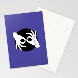 Sign Language (ASL) Interpreter – White on Black 02 Stationery Cards
