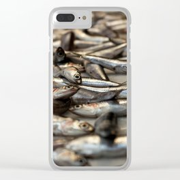 small silvery fish put on display to be sold. Fishes in the foreground and in the background unfocus Clear iPhone Case