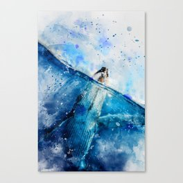 Ocean Blue Whale - classic watercolor painting effect Canvas Print