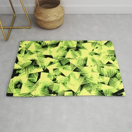 abstract yellow, black and green shapes pattern design Rug