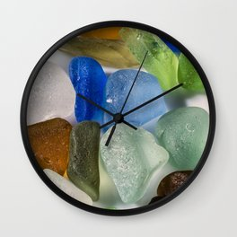 Colorful New England Beach Glass Wall Clock