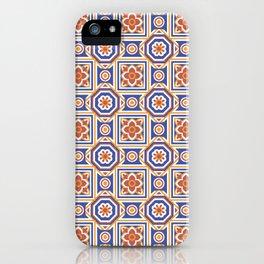 Portugal Geometric Floral Tile - Blue, Orange, Red iPhone Case