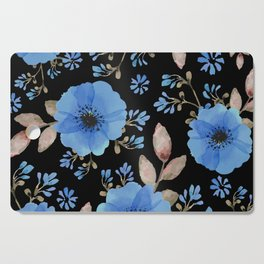 Blue flowers with black Cutting Board