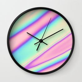 Holographic Foil Neon Pastel Colorful Pattern Abstract Marble Multi Colored Gradient Wall Clock