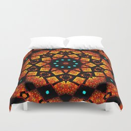 Bright Red Orange Mosaic Kaleidoscope Mandala Duvet Cover