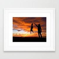 workout Framed Art Prints featuring Sunset Workout by Sandy Broenimann