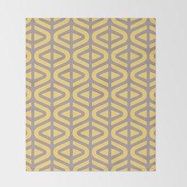 Mid Century Modern Split Triangle Pattern Gray and Yellow 2 Throw Blanket