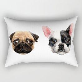 a Pug and a Bulldog Rectangular Pillow