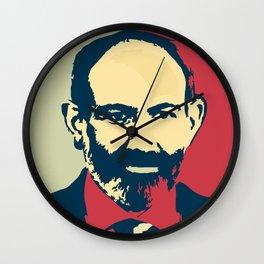 Duxov. Nikol Pashinyan. Armenian revolution. #society6 #decor #buyart #artprint Wall Clock