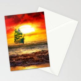Black Pearl Pirate Ship Stationery Cards