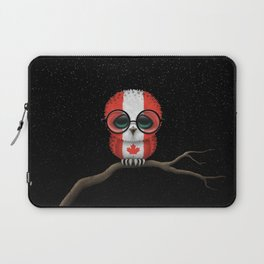 Baby Owl with Glasses and Canadian Flag Laptop Sleeve
