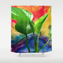 Abstract Pothos Shower Curtain