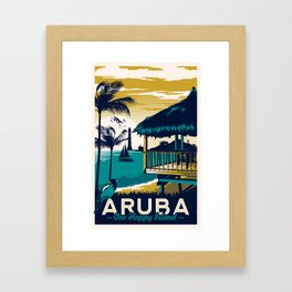 aruba vintage travel poster Framed Art Print