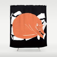fat Shower Curtains featuring Fat Cat by The Printed Peanut