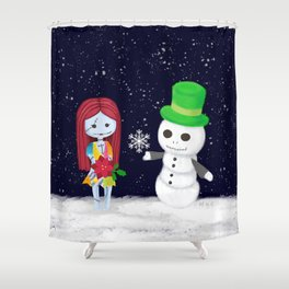 Snowman Jack and Sally with Poinsettia Shower Curtain