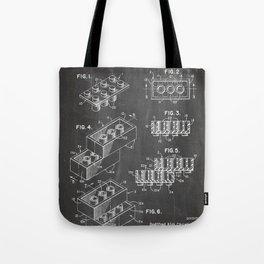 Legos Patent - Legos Brick Art - Black Chalkboard Tote Bag
