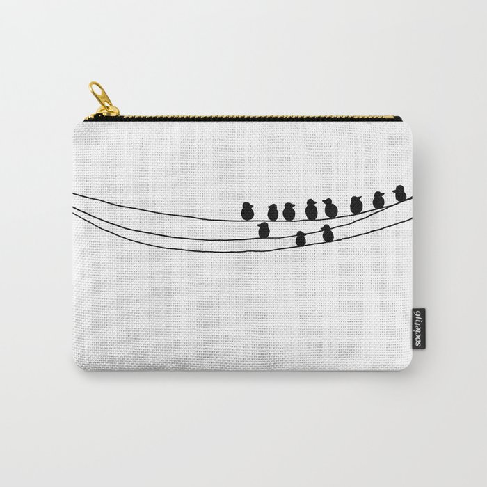 Drawing of Birds on Wires by Emma Freeman Designs Carry-All Pouch