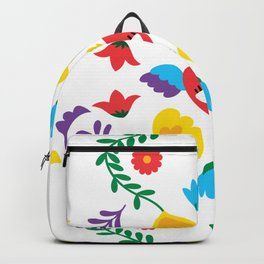 Mexican Otomi Embroidery Folk Art Sacred Heart Evil Eye Backpack