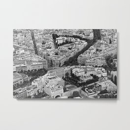 Black and White Paris France Aerial View Metal Print
