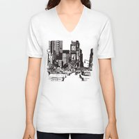 new york V-neck T-shirts featuring New York New York by Bianca Green
