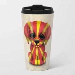 Cute Puppy Dog with flag of Macedonia Travel Mug
