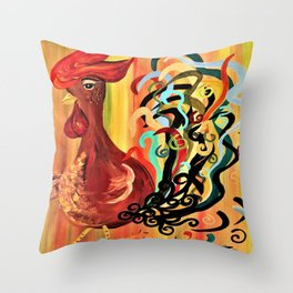 Curly Rooster Throw Pillow
