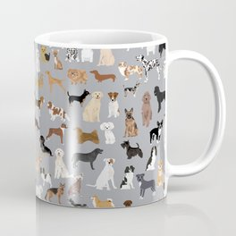 Mixed Dog lots of dogs dog lovers rescue dog art print pattern grey poodle shepherd akita corgi Coffee Mug