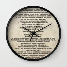 Desiderata Poem By Max Ehrmann Nr. 1001-2 Wall Clock
