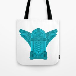 Vintage Flying Illuminati Jukebox Blue Tote Bag