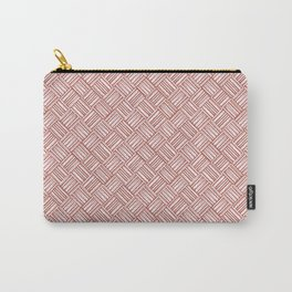 Red and White Basket Weave Carry-All Pouch