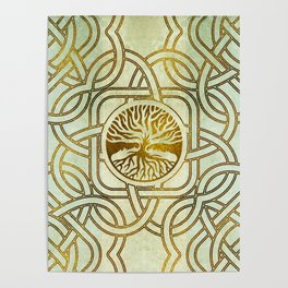 Golden Tree of life  -Yggdrasil on vintage paper Poster