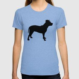 Pitbull silhouette black and white minimal modern dog breed art pillow square T-shirt