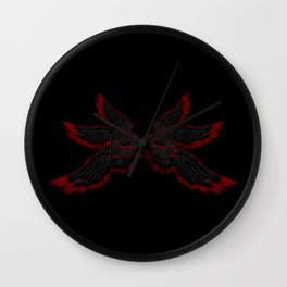 Archangel Lucifer with Wings Black Wall Clock