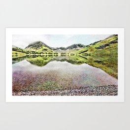Buttermere Mirror Green Mountains, Lake District, UK. Watercolour landscape. Art Print